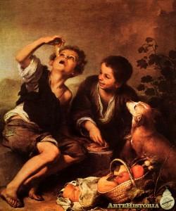 Niños comiendo pastel